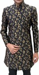 Mens Black Traditional Floral Sherwani Suit for Groom