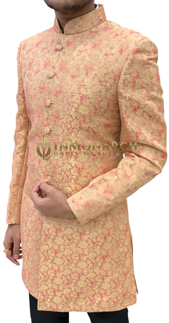 Mens Pink Indowestern Sherwani for Groom and Groomsmen