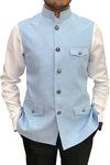 Mens Sky Blue Indian Nehru Vest | Waist coat