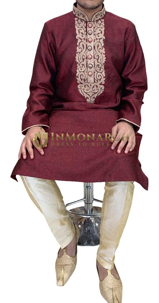 Burgundy Mens Wedding Wear Kurta Pajama