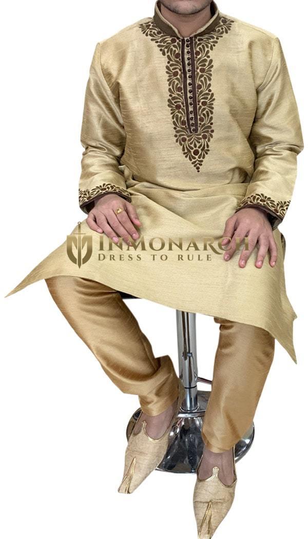 Golden Mens Ethnic Designer Indian Kurta Pajama