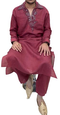Magenta Mens Ethnic Designer Kurta Pajama