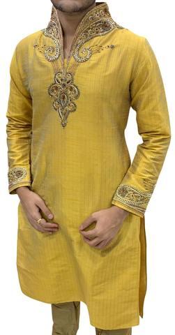 Mustard Mens designer Indian Kurta Pajama