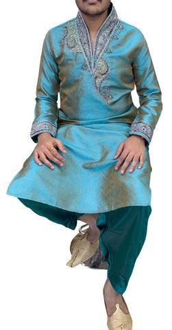 Teal Mens Wedding Indian Kurta Pajama
