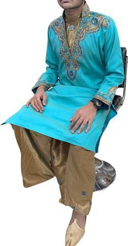 Teal Mens Wedding luxurios Kurta Pajama