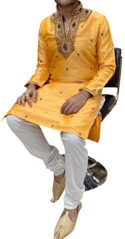 Orange Mens Designer Indian Kurta Pajama