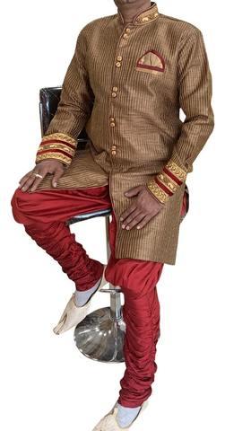 Brown Mens Designer Semi Sherwani for wedding