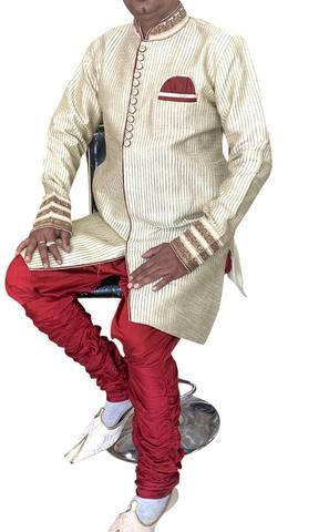 Ivory Mens Wedding Wear Indian Semi Sherwani