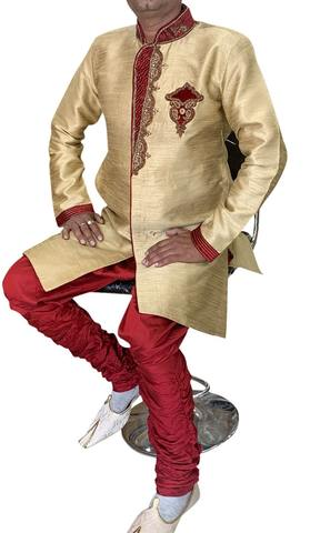 Golden Groom Designer Indian Semi Sherwani
