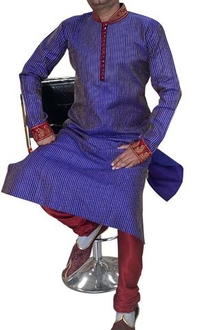 Blue Groom Designer Indian Kurta Pajama