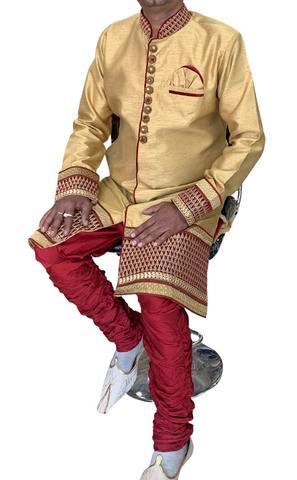 Burlywood Mens Indian Semi Sherwani