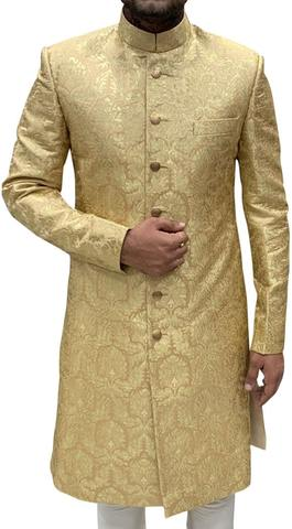 Mens Indo Western Golden Wedding Indian Suit Traditional Look Sherwani