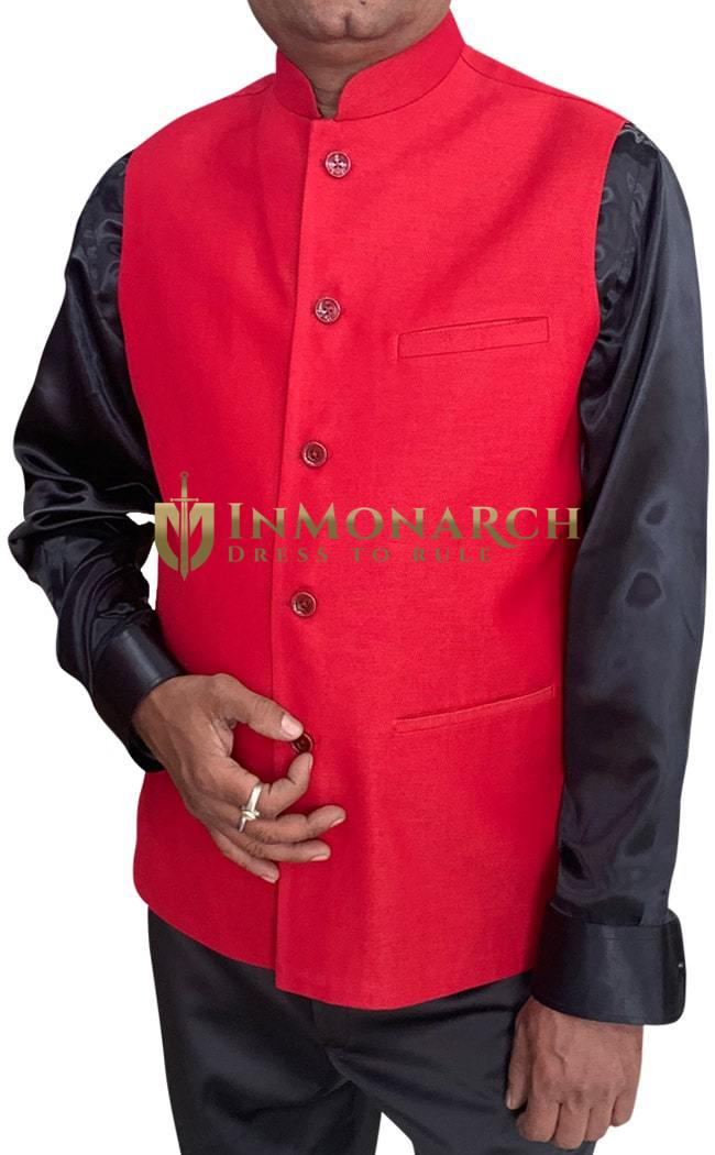 Mens Crimson Indian Nehru Vest | Waistcoat