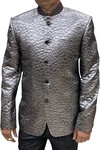 Grey Mens Indian Nehru Jacket in designer shining fabric