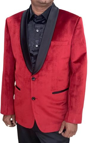 Crimson Red Mens Velvet Blazer Suit jacket