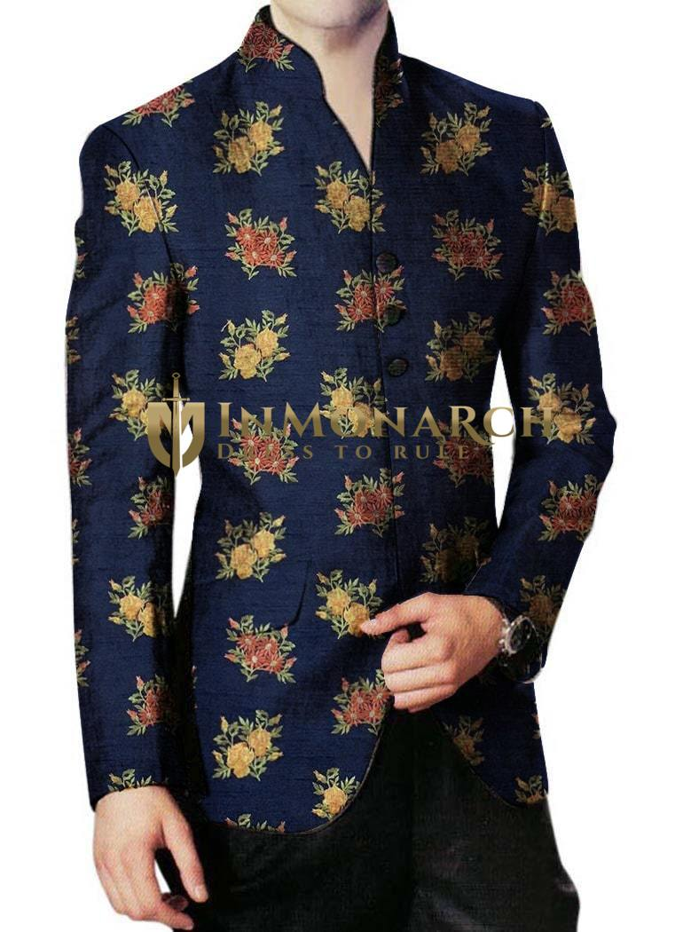 Mens Navy Blue Embroidered Jodhpuri Suit