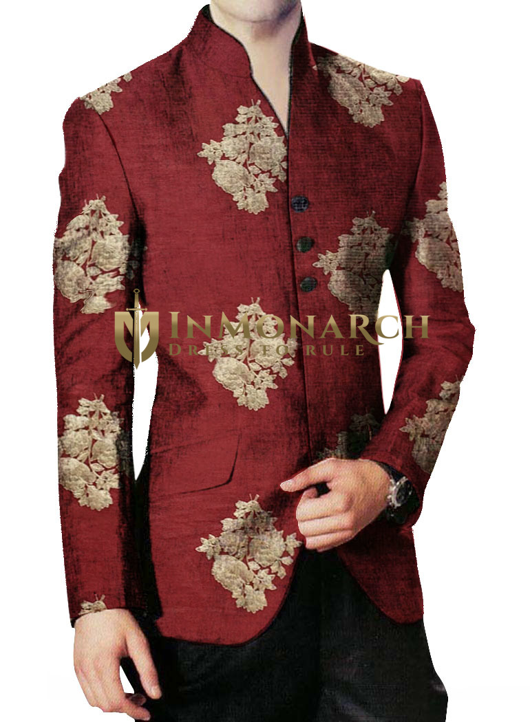 Burgundy Indian Jodhpuri Bandhgala Suit for Groom and Party