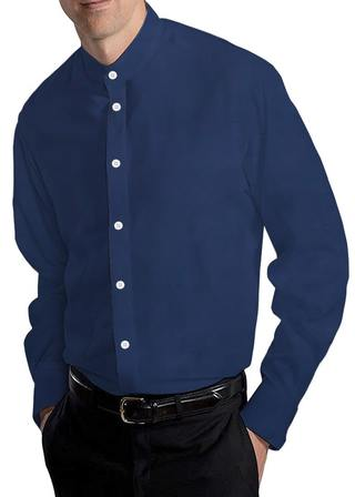 Navy Blue Mens Cotton Nehru Collar Shirt