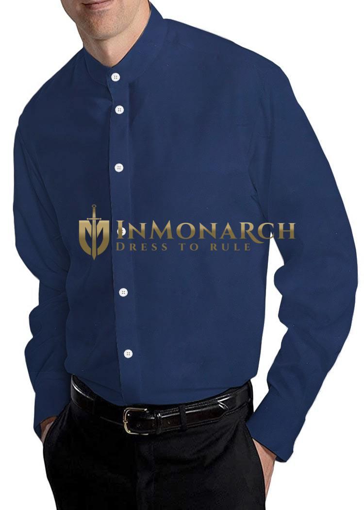 Navy Blue Mens Cotton Nehru Collar Shirt