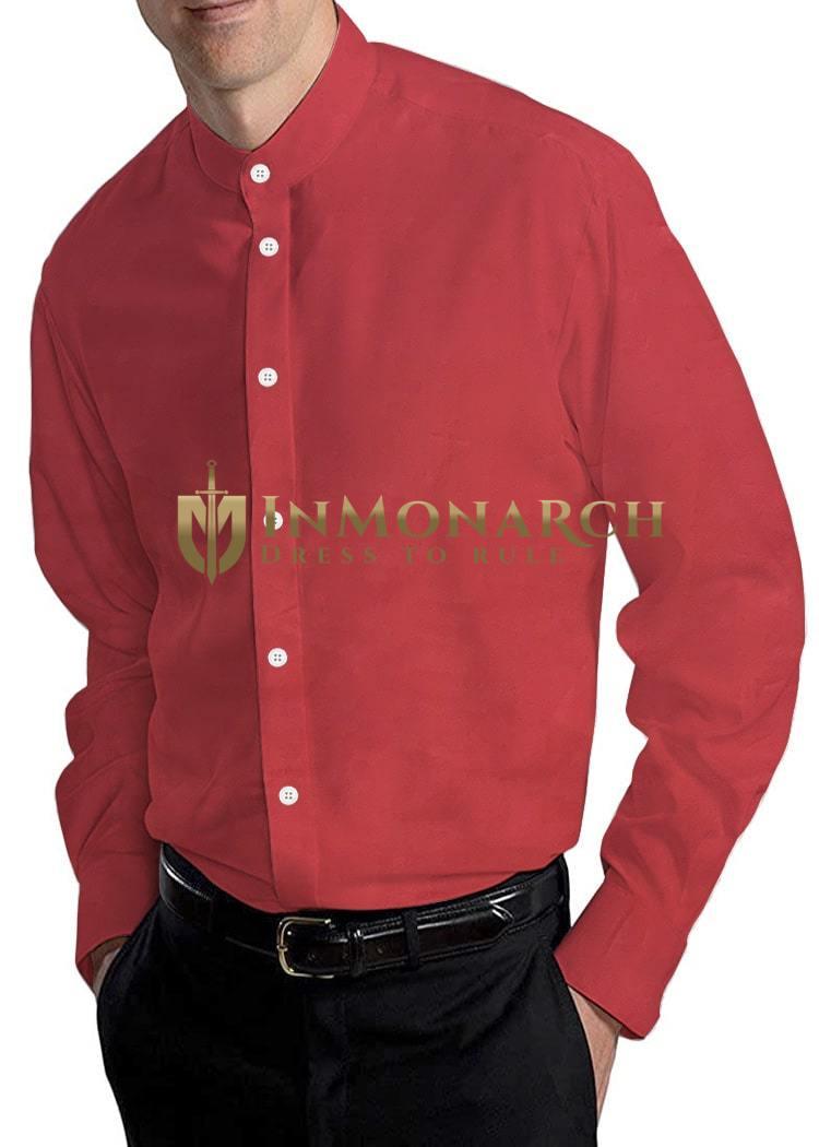 Red Mens Nehru Collar Shirt