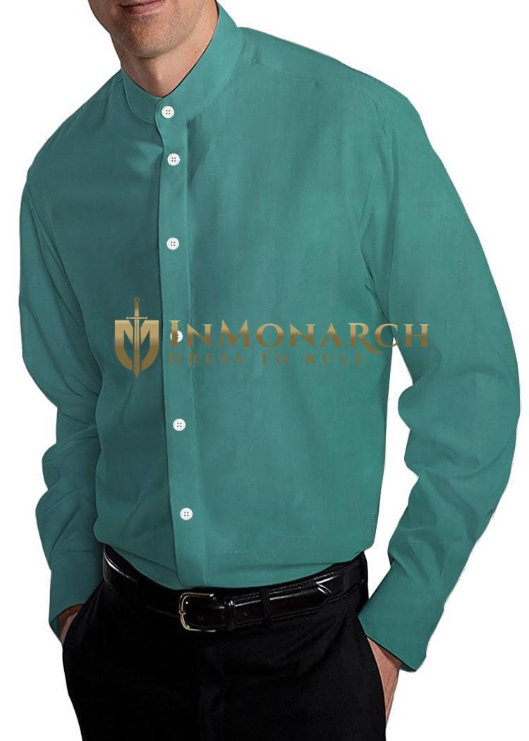 Mens Green Cotton Nehru Collar Shirt