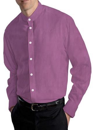 Magenta Banded Collar Nehru Shirt