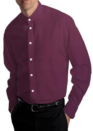 Mens Wine Cotton Banded Collar Nehru Shirt