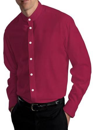Mens Red Banded Nehru Cotton Shirt