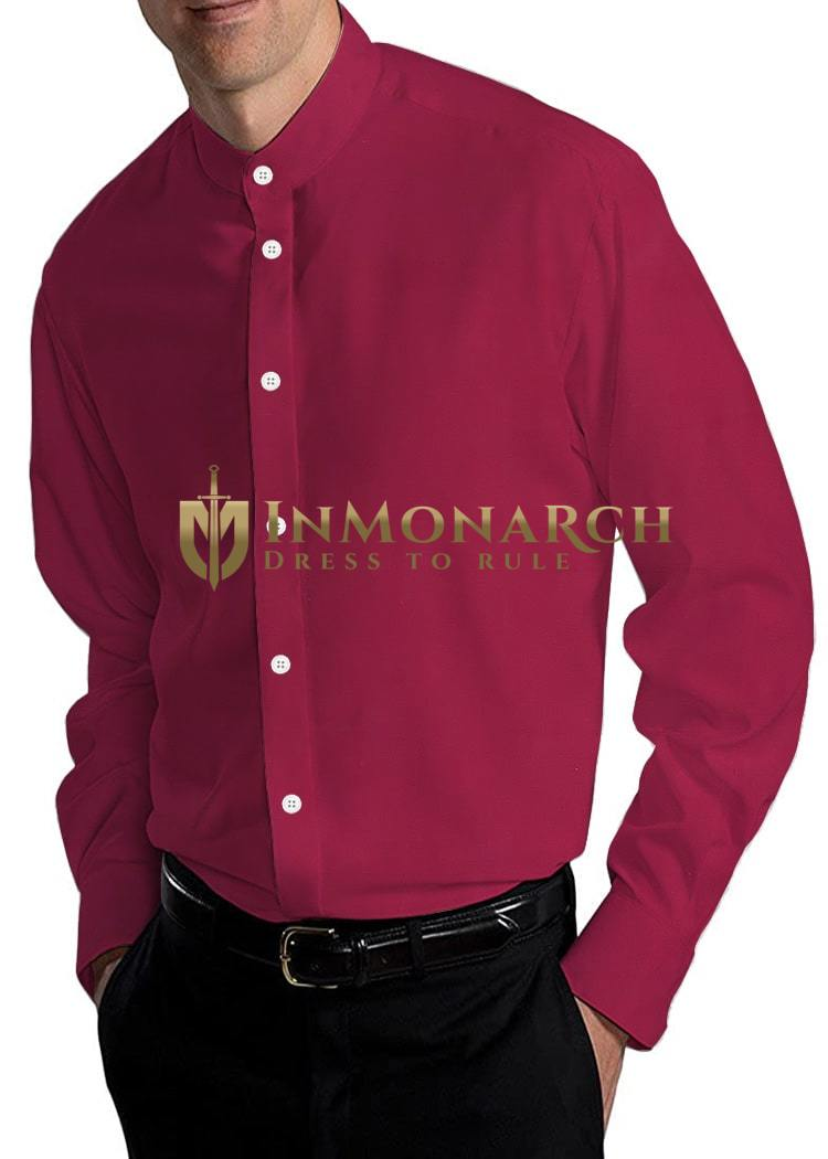 Mens Red Banded Nehru Cotton Shirt