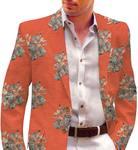 Rust Mens Blazer Embroidered Sport Jacket Coat