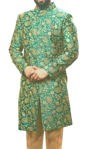 Green Mens Indian Wedding Sherwani for Groom