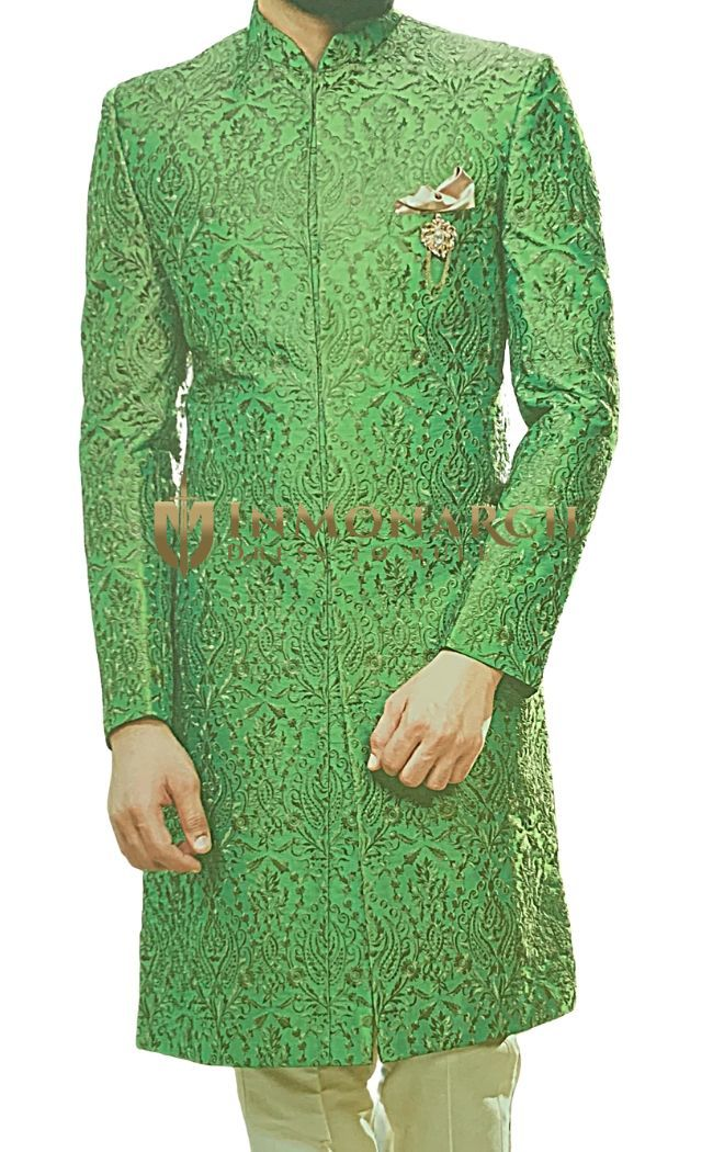 Silk Green Mens Sherwani Golden Embroidered Groom Attire