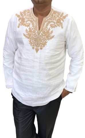 Mens white Linen Short Kurta V Neck