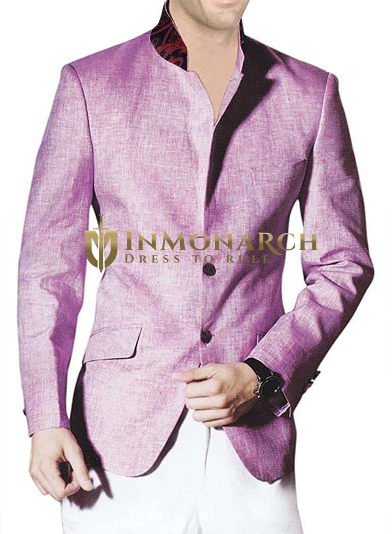 Pink Mens Stylish Jacket with Unturned Lapel Linen Suit