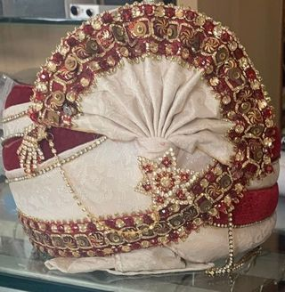 Latest Wedding Turban Maroon Golden Pagari Safa Groom Hats