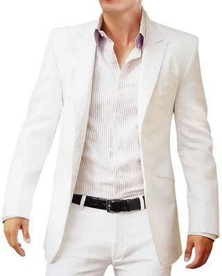 Mens White Linen 2 Pc Suit For Reception
