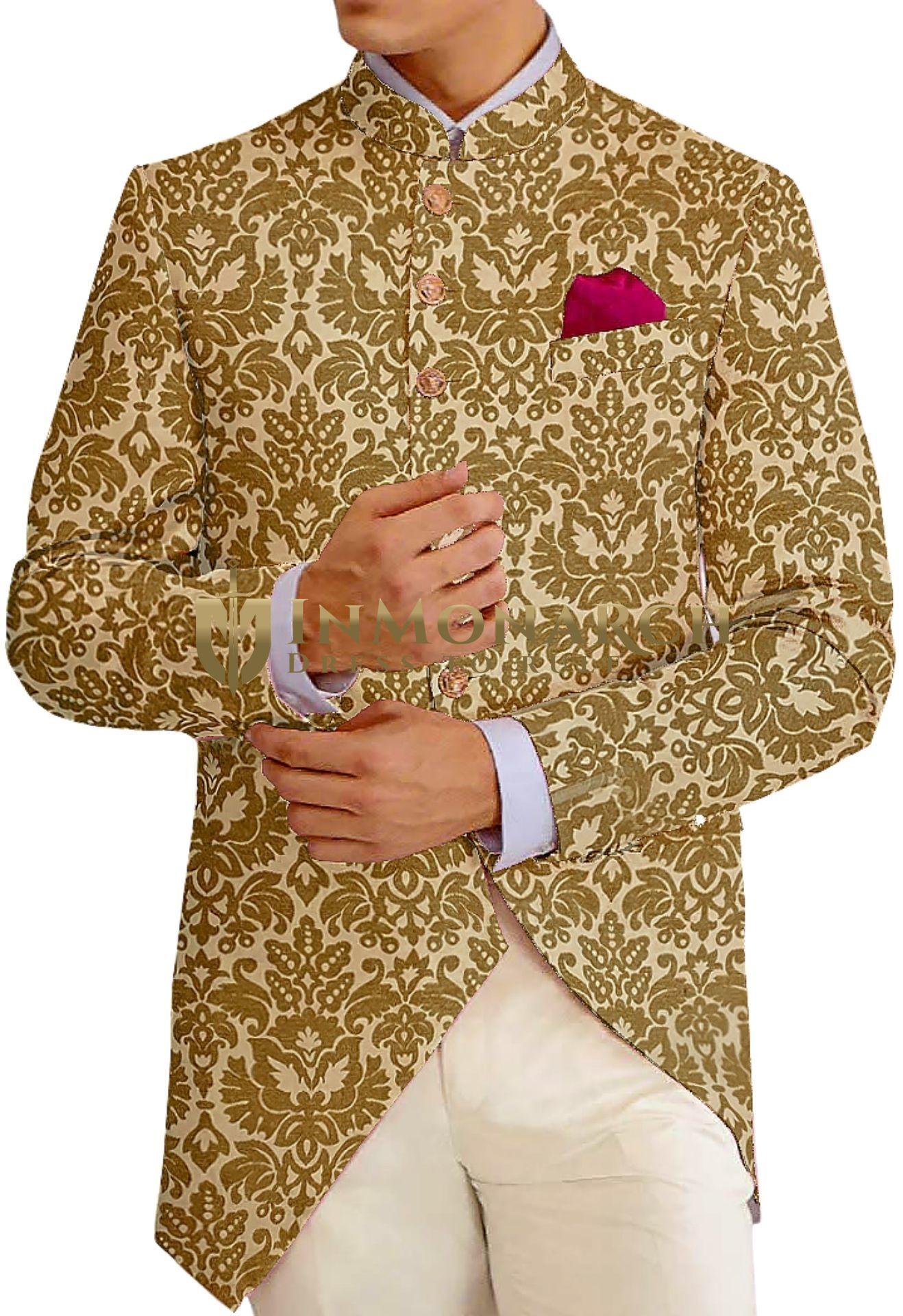 Burlywood Mens Jodhpuri fashionable Bandhgala suit