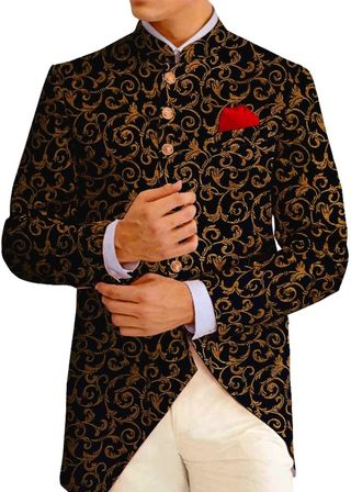 Mens Black Jodhpuri Bandhgala Suit