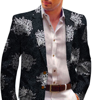 Mens Black Blazer Decorated with Floral Motifs