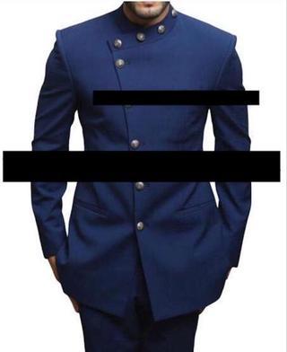 Navy blue Linen Jodhpuri suit