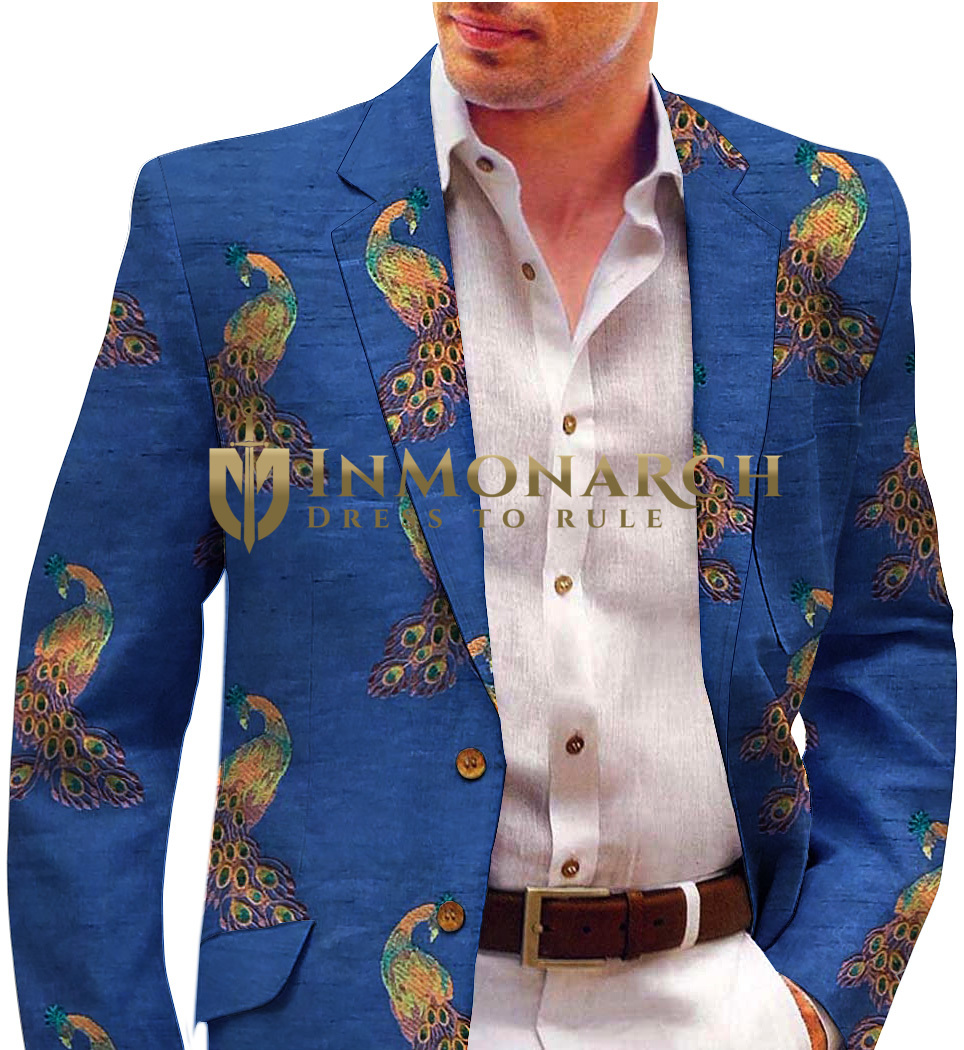 Blue Men's Embroidered Blazer with Peacock Motifs