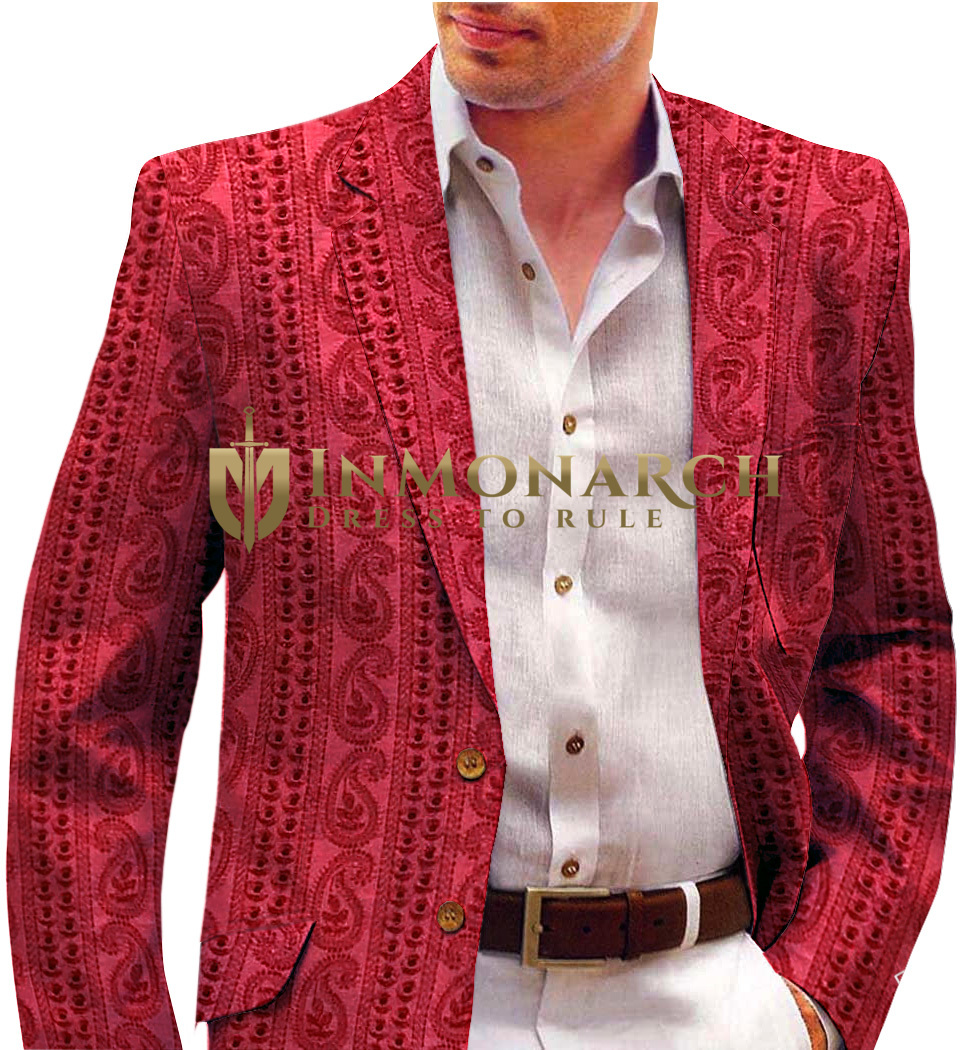 Red Mens Blazer with fine threaded decorations