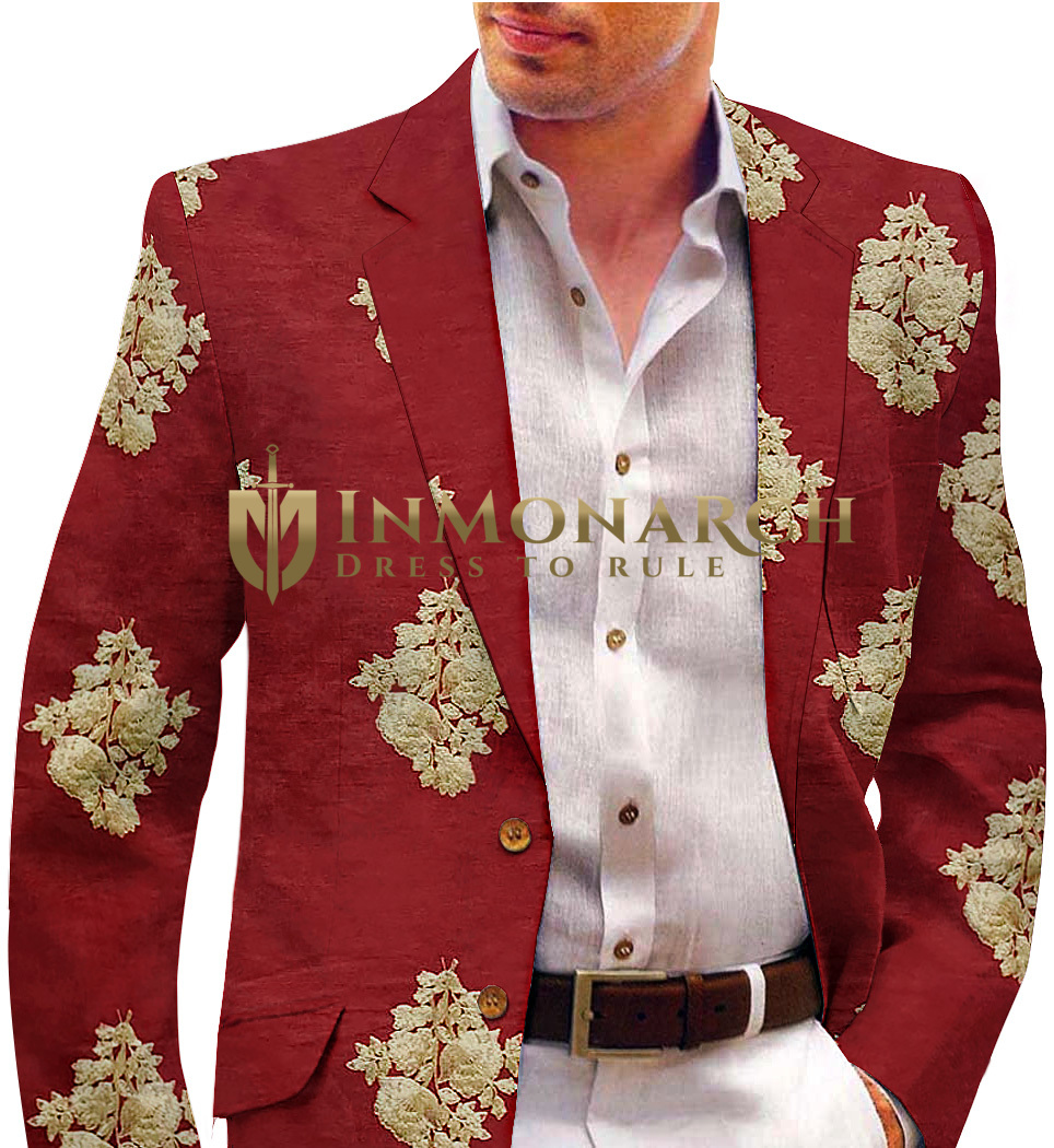 Red Mens Blazer with Embroidered Floral Motifs