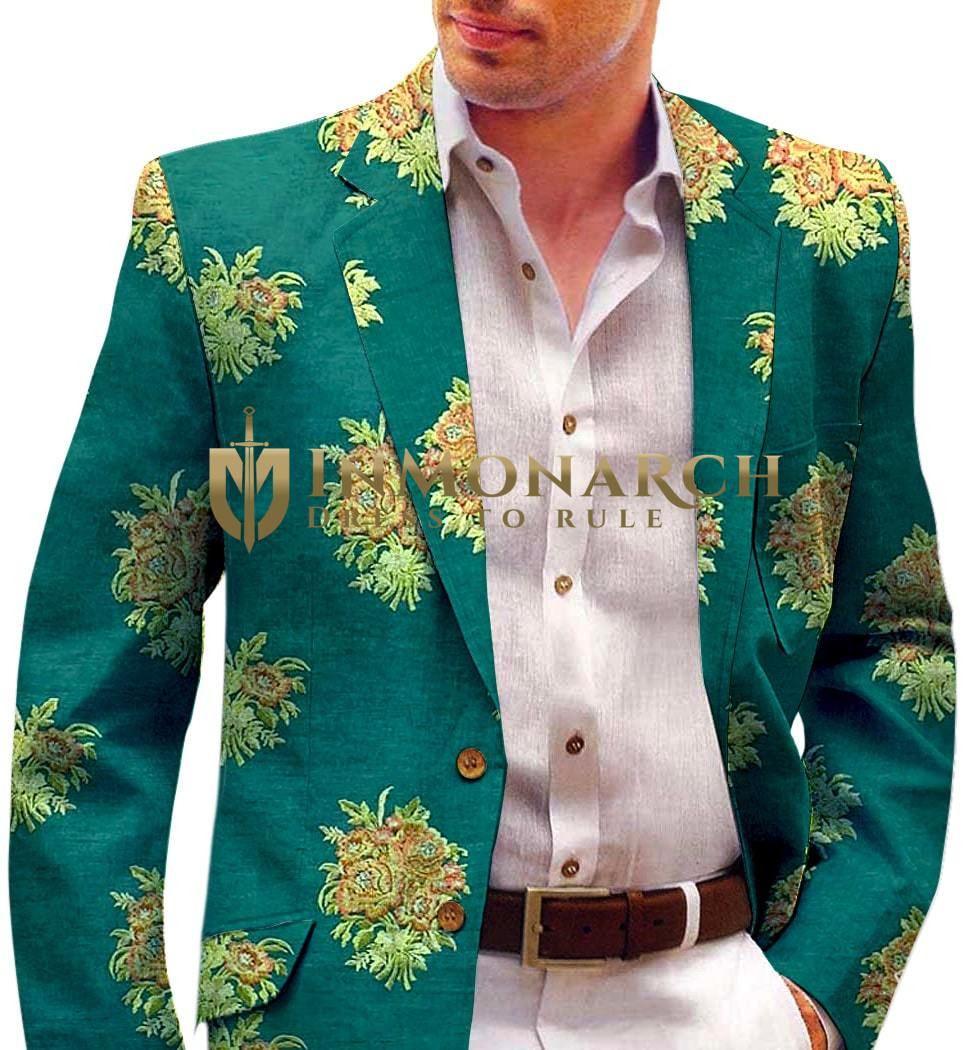 Green Mens Blazer with Embroidered Floral Motifs