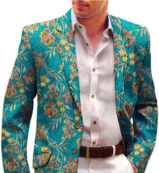 Teal Mens Blazer with Embroidered Floral Motifs