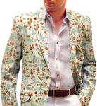 Ivory Mens Blazer with Embroided Floral Motifs