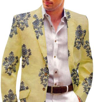 Yellow Mens Blazer with Embroided Floral Motifs