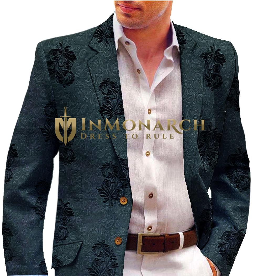 Black Mens Blazer with Embroided Floral Motifs