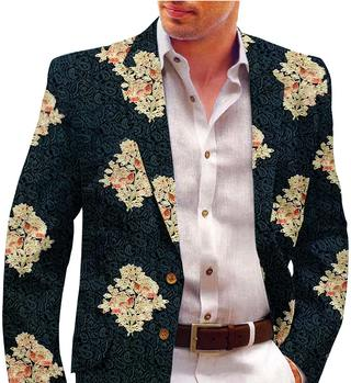 Mens Black Blazer with Embroided Floral Motifs