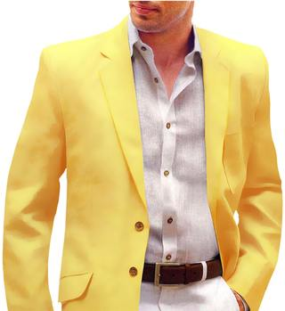 Yellow Mens Velvet Sport Coat Suit Jacket